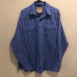 Wrangler western snap shirt button up blue